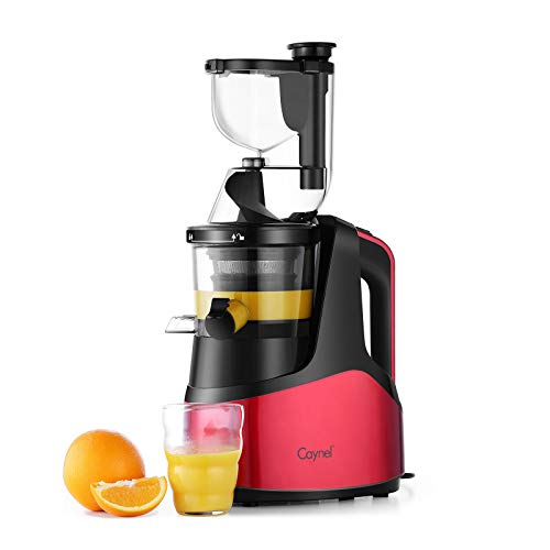 Caynel Slow Masticating Juicer Cold Press Extractor with 3″ Wide Chute for Fruits, Vegetables and Herbs, Quiet Durable Motor with Reverse Function, Smoothie Strainer Included, High Yield Vertical Juicer Easy Cleaning, BPA Free, Red