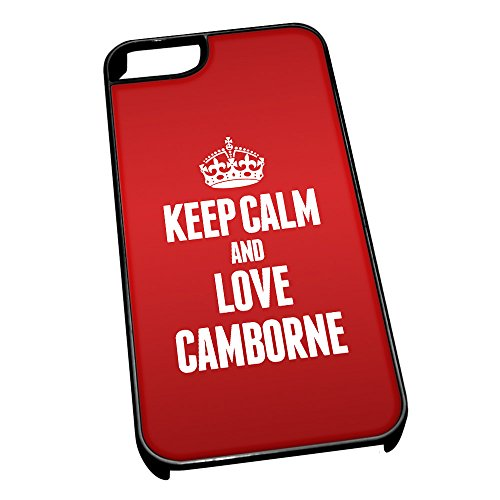 Nero cover per iPhone 5/5S 0127 Red Keep Calm and Love Camborne