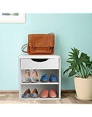 Skobänk vit skoskåp med PU-sittdyna, skohylla med förvaringsutrymme, skotippare med lådor och skiljeväggar, förvaringspall med lock för att lägga på sidan annat 40,5 x 30,2 x 42 cm