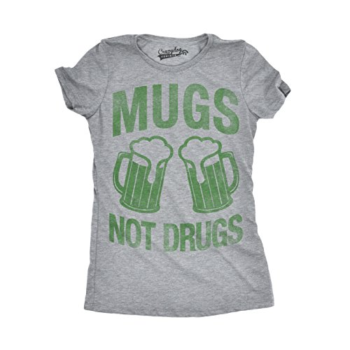 Crazy Dog T-Shirts Womens Mugs Not Drugs Funny Irish Cheers Vintage ST. Patrick's Day T Shirt (Grey) XL