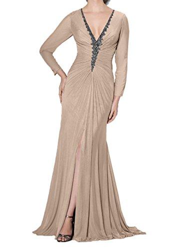 ausschnitt V Brautmutterkleider Damen Etuikleider Mit Champagner Langarm Promkleider Abendkleider Grau Charmant qApntw