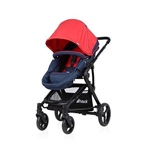 Hauck Kombi-Kinderwagen Manhattan | Kinderwagen-Set mit Babywanne und Sportwagenaufsatz - Moonlight Tango Rot M1001