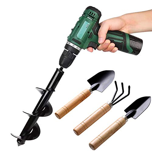 Auger Drill Bit Garden Plant Tool Flower Bulb Auger Spiral Hole Drill Rapid Planter Earth Auger Bit Post or Umbrella Hole Digger for 3/8