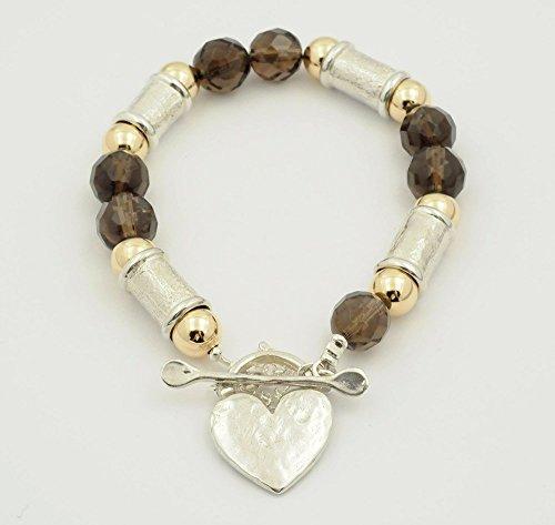 Sterling Silver and Gold Balls Smoky Quartz Bead Bracelet
