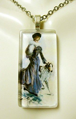 (Woman with Borzoi glass pendant - DGP02-404 - Harrison Fisher)