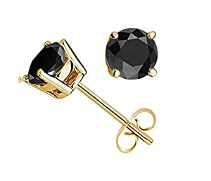 1/4 CTTW Black Diamond Studs in 14K gold