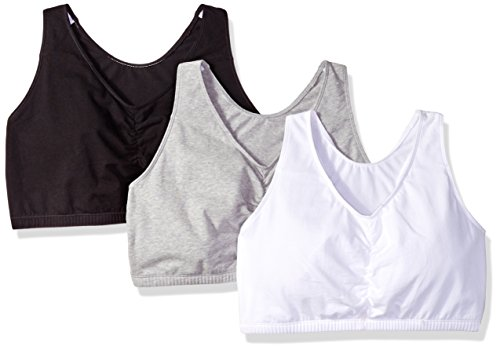 Fruit of the Loom Women's Shirred Front Racerback Bra (Pack of 3) Bra, White/Black hue/Heather Grey, 46
