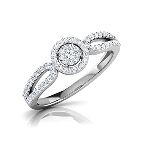 14K Or blanc, 0,3carat Diamant Taille ronde (IJ | SI) en diamant