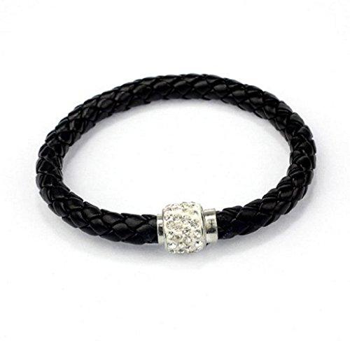 Magnetic Rhinestone Buckle Leather Wrap Bracelet Bangle (Black) (Rhinestone Buckle Bracelet)