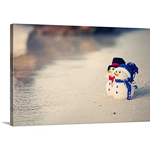 GREATBIGCANVAS Gallery-Wrapped Canvas Entitled Two Cute Snowmen on The Beach in The Caribbean by 36