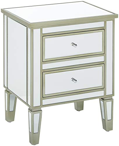 Christopher Knight Home 296718 Graham Nightstand Accent End Table with 2 Drawers for Living Rooms and Bedrooms, Mirror