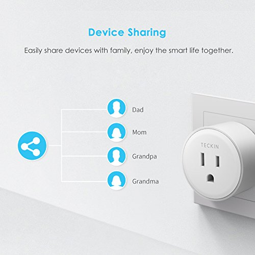 Smart Plug Mini Outlet Compatible with Amazon Alexa and Google Assistant,  TECKIN Wifi Enabled Remote Control Smart Socket with Timer Function, No Hub