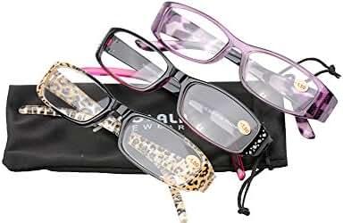 SOOLALA 3-Pairs Womens Designer Fashion Rhinestone Lightweight Reading Glasses