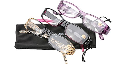 SOOLALA 3-Pairs Womens Designer Fashion Rhinestone Lightweight Reading Glasses, +1.75