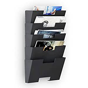 hanging wall file folder steel magazine newspaper rack holder cascading wall. Black Bedroom Furniture Sets. Home Design Ideas
