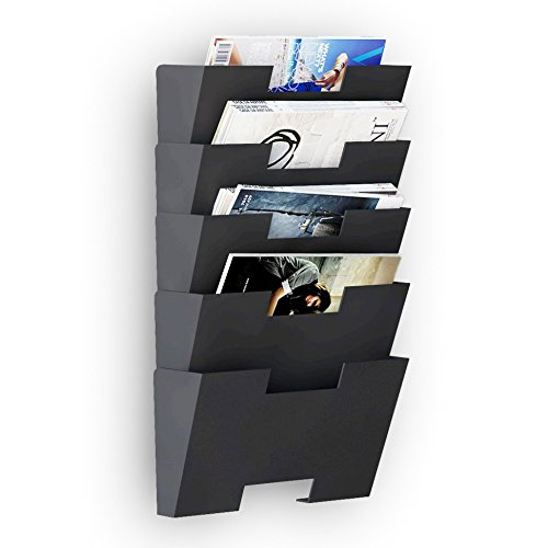 Hanging Wall File Folder Steel Magazine Newspaper Rack Holder Cascading Wall Organizer 5 Pack Black