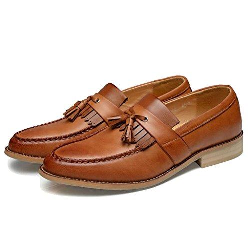 GAOLIXIA Scarpe da uomo in pelle d'affari a punta per uomo Moda estiva Scarpe da lavoro britanniche Scarpe con nappe Scarpe casual Scarpe da matrimonio Marrone