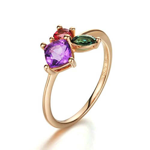 Beydodo Rings for Women 18k Real Gold Green Red Tourmaline Cushion Amethyst Ring Rose Gold Ring Size 9.5 by Beydodo