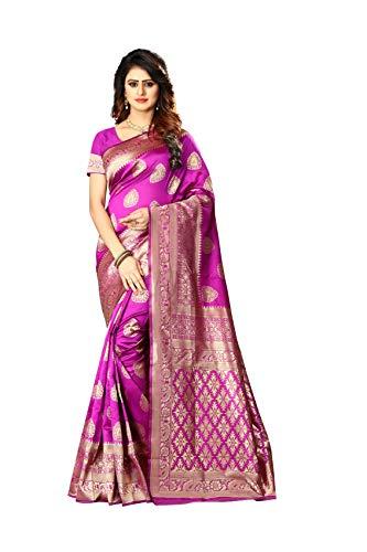 Women's Banarasi Silk Saree Indian Wedding Ethnic Sari & Unstitch Blouse Piece PARI 21 (Pink)