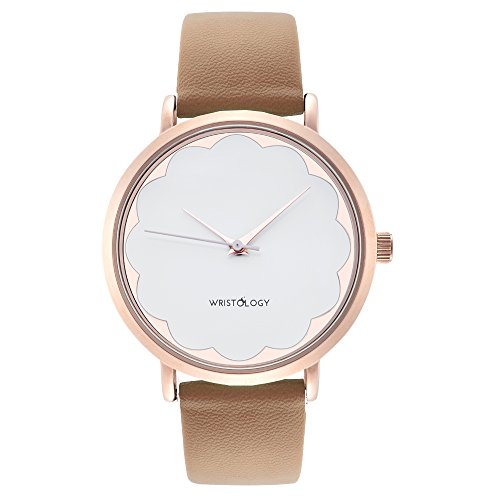 WRISTOLOGY Olivia Womens Scalloped Rose Gold Boyfriend Watch Sand Beige Leather Strap (Beige Leather Watch)