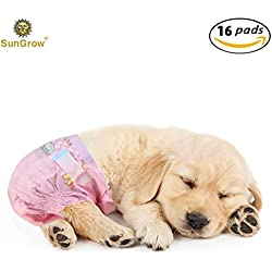 Super Absorbent, Leak-Proof SunGrow Dono Pet Diapers (16 count) - Convenient, Environmental Friendly Disposable Pet diapers : Safe & Comfortable Fit for Dogs & Cats (Pink color)
