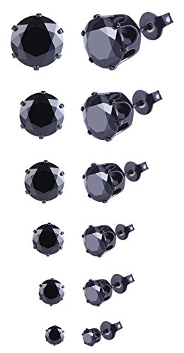 2018 Valentine's Day 6 Pairs Women's Girl's Black Sapphire AAA Cubic Zirconia Stainless Steel Round Clear Stud Earrings for Holiday Gifts (Black)