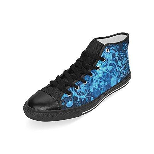 D-story Custom Blue Note Musicali Mens Classic High Top Scarpe Di Tela Sneaker Di Moda
