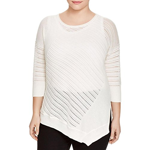 (Love Scarlett Womens Plus Pointelle Ribbed Trim Pullover Sweater Ivory 1X)