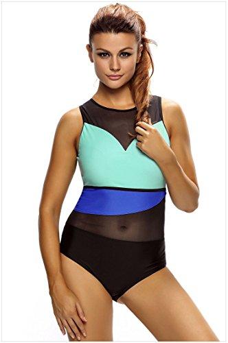00e561f588 Zeffimore Women's One Piece Swimsuit PLus Size Mesh Insert Color Block  Back-Zip (Middle)
