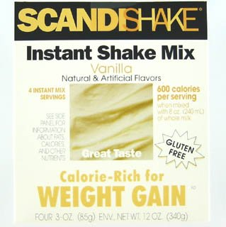 Scandishake Instant Shake Mix, Calorie-rich for Weight Gain, Vanilla 3 Oz, 4 Ea Pack of 3