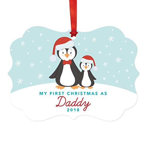 (Andaz Press Family Fancy Frame Christmas Keepsake Ornament, My First Christmas As Daddy 2019, Winter Penguin Family, 1-Pack, Includes Ribbon and Gift Bag)