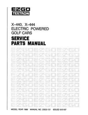 440 Golf (EZGO 23522G1 1988 Service Part Manual for Electric Electric X-440 and X-444 Golf Car)
