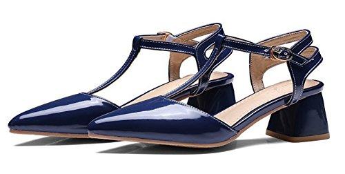 Aisun Kvinna Chunky Mitten Klackar Klänning Spänne T Rem Stängd Spetsig Tå Trendiga Sandaler Skor Blå