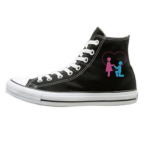 Hilo Canvas Shoes Marry Me Hi-Top Unisex Canvas Sneaker- Season Lace Ups Shoes Casual Trainers Men And Women 43 (Christmas Me Marry Review For)
