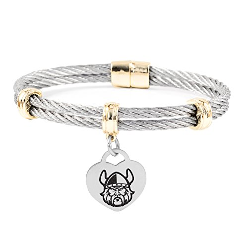 Cleveland State University Vikings Charm Bracelet | Stainless Steel Magnetic Clasp Bangles