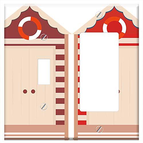 1-Toggle 1-Rocker/GFCI Combination Wall Plate Cover - Beach Huts Colorful Clip Art Summer Blue Sand