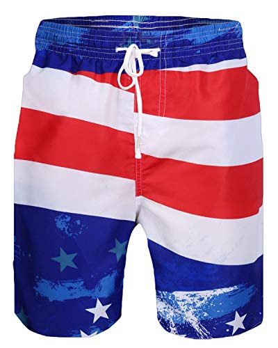 Sykooria Mens American Flag Print Summer Beach Pants Shorts National Day Theme Clothing