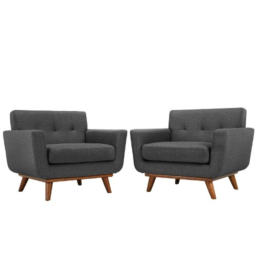 LexMod Engage Armchair Wood Set of 2 in Gray
