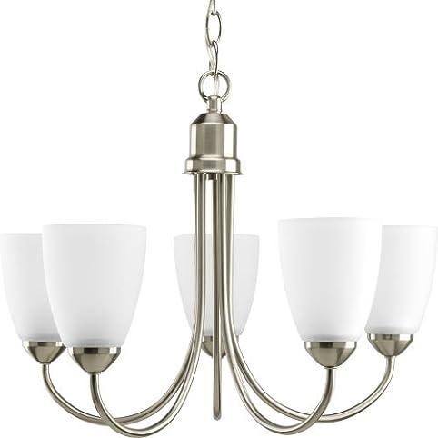 progress lighting p444109 gather collection 5light chandelier brushed nickel