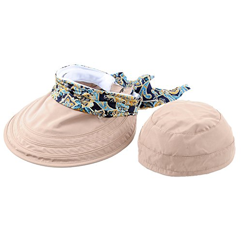 Micoop Wide Brim Visor Hat Foldable UV Protection Summer Beach Sun Hat Outdoor Flap Hat for Women (Light Coffee Brown)