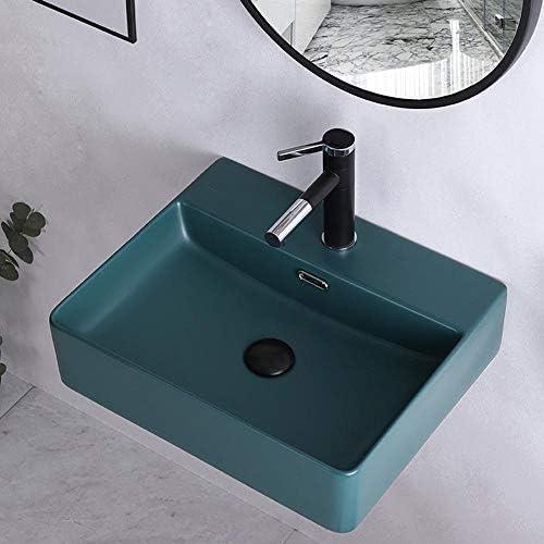 パーソナリティクリエイティブアート洗面台 トイレ洗面所キッチンクローク用バスルーム長方形磁器容器シンクダークセラミックシンク (Color : Dark Green, Size : 60x42x13cm)