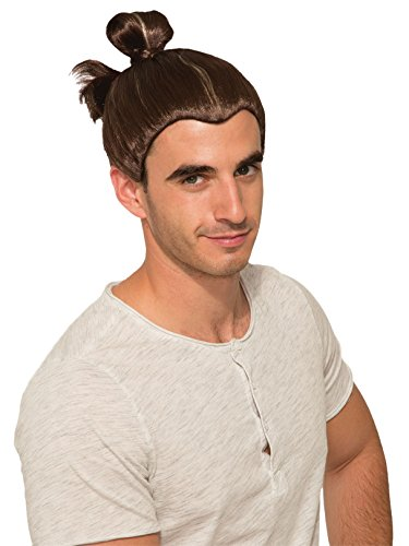 Forum Novelties Party Supplies 81022 Man Bun Men's Adult Costume Wig, Brown, Adult One Size]()