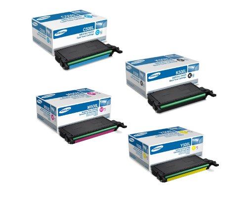 Samsung Part# CLT-C508L, CLT-K508L, CLT-M508L, CLT-Y508L High Yield OEM Toner Cartridge Set