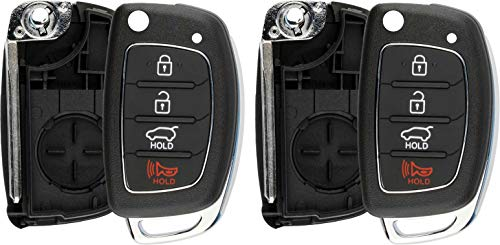 KeylessOption Keyless Entry Remote Flip Key Fob Shell Case Cover Button Pad for Hyundai Sonata Tucson Santa Fe (Pack of 2)