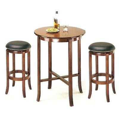 York Cherry Pub Table Set with 2 Leather Nailhead Swivel Bar Stools