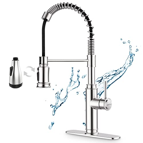 Kitchen Faucet-WaterSong Kitchen Sink Pull-Down Faucet with 2 Alternative Sprayers for 3+4 Modes, 20-Inch Extraction Length&360-Degree Spray Rotation, Commercial Stainless Steel Kitchen Faucet