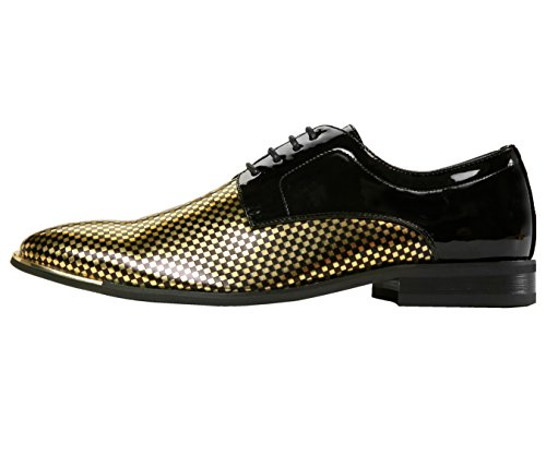 Amali Mens Patent Checkerboard Print Oxford With Metal Tip, Lace Up Tuxedo Dress Shoe, Style Winslow Gold
