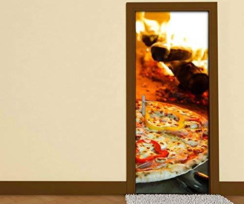 Pegatinas de Puertas Pizza Horno Fuego Horno Llama Cocina Puerta ...