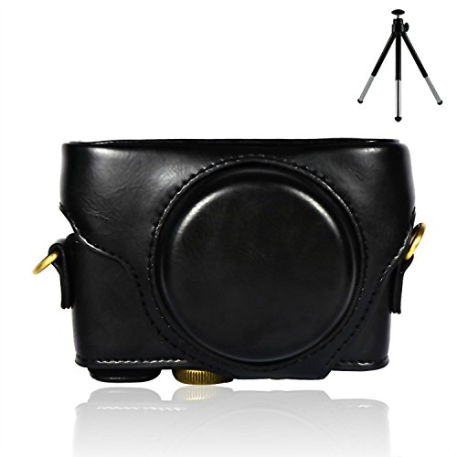 First2savvv XJPT-RX100M4-01 black full body Precise Fit PU leather digital camera case bag cover with shoulder strap for Sony Cyber-Shot DSC RX100 M4 + mini tripod