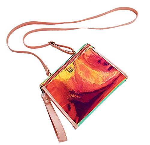 Crossbody Bag For Women Handbag Clutch Cosmetic Bags Makeup Pouch Holographic Rainbow Leather Red